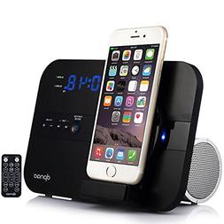 DPNAO Charging Docking Station Speakers Alarm Clock FM Radio