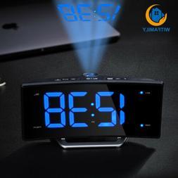 Arc Led Projection Alarm Clock Modern Desktop Clock with Rad