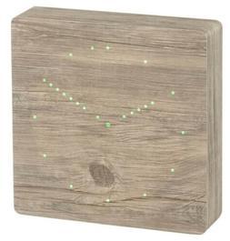 Gingko Ash Analog Click Clock/Green LED Electric Alarm Clock