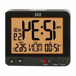 Atomic Bedside Desk Travel Alarm Clock Auto Night Light Batt