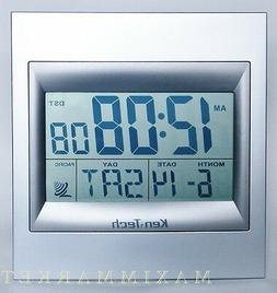 """ATOMIC RADIO CONTROLLED LCD ALARM CLOCK WITH 2"""" HIGH NUMBERS"""