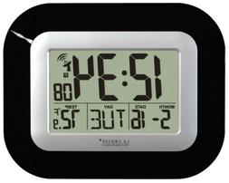 La Crosse Technology Digital Atomic Wall Clock, Black, 1 ea