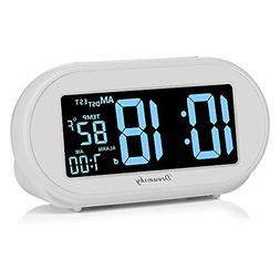 DreamSky Auto Time Set Alarm Clock with Snooze and Dimmer, C