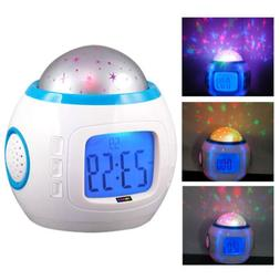 Baby Children Alarm Clock Room Sky Star Night Light Projecto