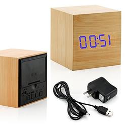 Bamboo LED Clock Square Cube Digital Alarm Thermometer Timer
