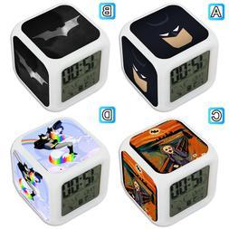 Batman Mask Joker Unicorn Hero Alarm Digital Clock LED Light