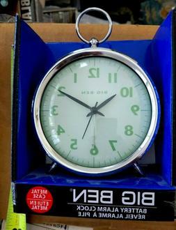 Big Ben Battery Alarm Clock Metal Case Convex Glass New