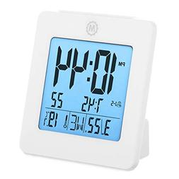 Battery Operated Digital Desktop Clock with Day, Date, Tempe