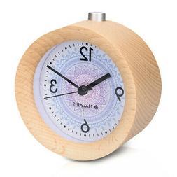 Battery-Powered Analogue Wooden Alarm Clock - Light Brown Wo
