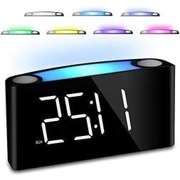 "Bedroom Alarm Clock, 7"" Digital LED Display & Slider Dimme"