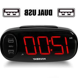 Bedrooms Alarm Clock with USB Charger - Dual Front USB Ports