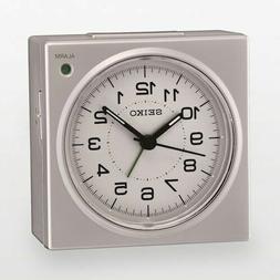 Seiko Bedside Alarm Clock QHE086SLH Silver Tone BRAND NEW Qu