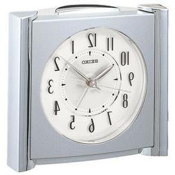 Seiko Bedside Alarm Clock QXE418SLH BRAND NEW Silver Metalli