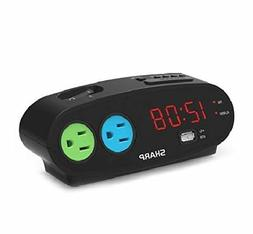 Sharp Bedside Alarm Clock with 1 Rapid Charge USB and 2 AC O
