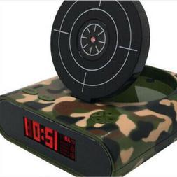 Bedside Alarm Clock W/ Gun Digital Fun Clocks For Heavy Slee