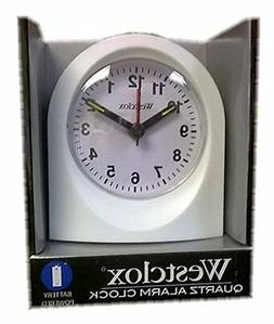 Bedside Analog Alarm Clock, White