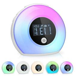 Bedside Lamp w/ Bluetooth Speaker Dimmable 5 Color Alarm Clo