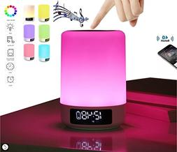 Bedside Table Lamp Alarm clock Portable Bluetooth Speakers H