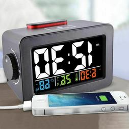 Bedside Wake Up Digital Alarm Clock with Thermometer Hygrome