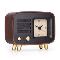 BEW Retro Alarm Clocks & Bluetooth Speaker, Roman Number Vin