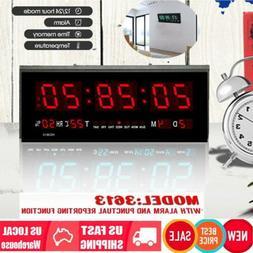 Digital Large Big Jumbo LED Wall Desk  ALARM Clock With Cale