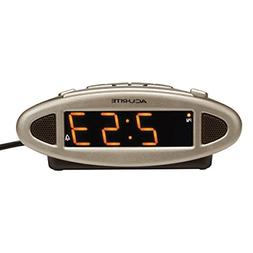 AcuRite Big and Loud Electric IntelliTime Alarm Clock, Silve