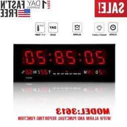 Big Red LED Digital Jumbo Wall Calendar Temp Humidity alarm