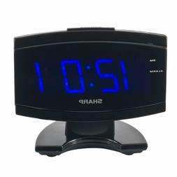 Black Large Digital Alarm Clock SHARP Blue LED Display Elect