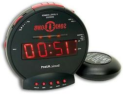 Dual Alarm Clock Black Loud Sonic Boom With Bed Shaker Built