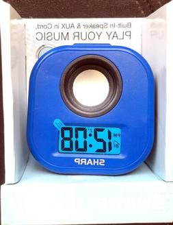 Sharp Blue LCD ALARM CLOCK with Aux IN CORD