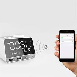 Bluetooth 4.1 Digital Alarm Clock Stereo Speaker Dual USB FM