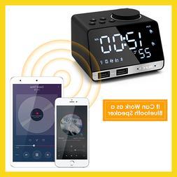 Bluetooth 4.2 Radio Alarm Clock Speaker With 2 USB Ports LED