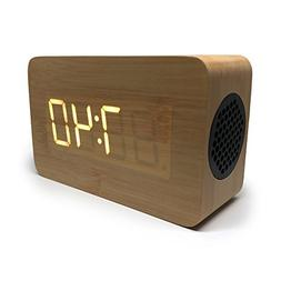 Bluetooth Alarm Clock: Portable Speaker Digital Stereo Woode