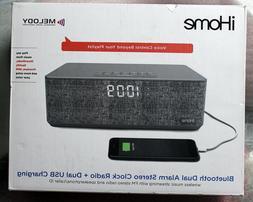 iHOME BLUETOOTH DUAL ALARM + DUAL USB CHARGING FM CLOCK RADI