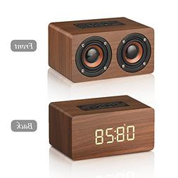 MODAR Bluetooth Speaker Digital Alarm Clock Wooden, V4.2 Por