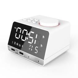 Bluetooth Radio Alarm Clock Speaker With 2 USB Ports LED Dig