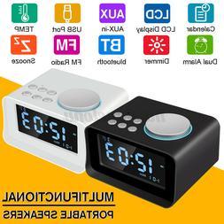 bluetooth Speaker W/ Alarm Clock LCD Temperature Time Stereo