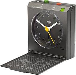 Braun BNC005 Classic Relflex Control Travel Alarm Clock, Bla