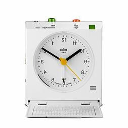 Braun White Classic Motion Analog Quartz Alarm Clock BNC005W