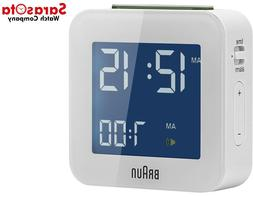 Braun BNC008WH Classic White Digital LCD Quartz Alarm Clock