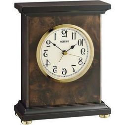 *BRAND NEW* Seiko Analog Dark Brown Wooden Case Alarm Clock