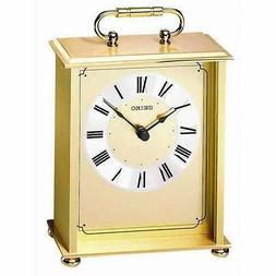 *BRAND NEW* Seiko Gold Tone Brass Carriage Clock QHG102GL