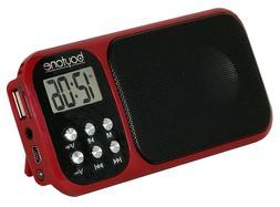 Boytone BT-92R Portable FM Transistor Radio Alarm Clock with