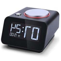 Homtime C1mini-Black Alarm Clock with USB Charger, Dual USB