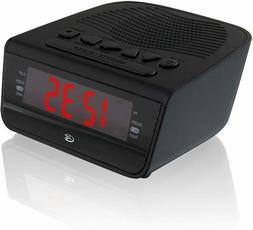GPX C224B Dual Alarm Clock AM/FM Radio with Red LED Display,