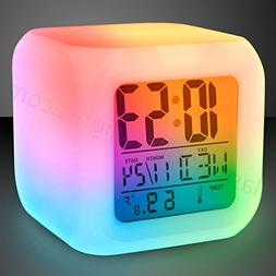 Color Changing Digital Alarm Clock & Thermometer / 7 LED Col