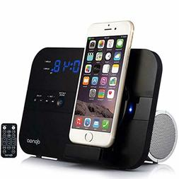 DPNAO Charging Docking Station Speakers Alarm Clock FM Radio