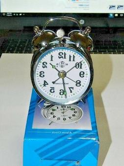 Chrome Silver Old Fashioned Alarm Clock Wind Up No Batteries