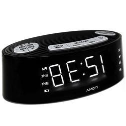 iTOMA CKS3301B Alarm Clock Radio AM FM Dual Alarm Snooze Dim
