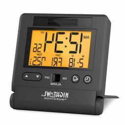 Marathon CL030036BK Atomic Travel Alarm Clock with Auto Back